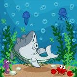Rekinu dosypianie na dnie morskim ilustracja wektor
