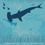 Rekinu młoteczkowy bezszwowy Zdjęcia Royalty Free