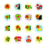 Reklam ustalone ikony, komiczka styl Obrazy Royalty Free