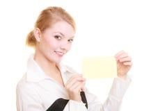 Reklama Bizneswomanu mienia pustego miejsca kopii przestrzeni karta zdjęcie royalty free