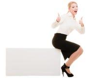 Reklama Bizneswomanu pustego miejsca kopii przestrzeni siedzący sztandar zdjęcie stock