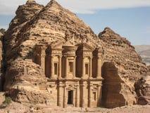 Reklama monaster lub Deir przy Petra. Jordania zdjęcia stock