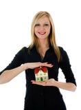 reklama nieruchomości interesów prawdziwej kobiety obrazy stock