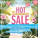 Reklama o lato sprzedaży na tle z pięknym tropikalnym morze plaży widokiem, kwiaty, liście wektor ilustracja wektor