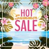 Reklama o lato sprzedaży na tle z pięknym tropikalnym morze plaży widokiem, kwiaty, liście wektor ilustracji