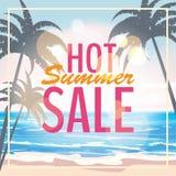 Reklama o lato sprzedaży na tle z pięknym tropikalnym morze plaży widokiem, palmy również zwrócić corel ilustracji wektora royalty ilustracja