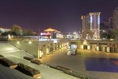Reklama łomota teren blisko Xian antycznego miasta nocy widoku Obrazy Stock