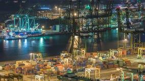 Reklama port Singapur nocy timelapse Ptasiego oka panoramiczny widok ruchliwie Azjatycki ładunku port zbiory