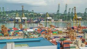 Reklama port Singapur timelapse Ptasiego oka panoramiczny widok ruchliwie Azjatycki ładunku port zbiory