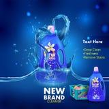 Reklama sztandar plamy, brudu zmywacza ciekły pralniany detergent dla płótna i Zdjęcia Stock