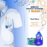 Reklama sztandar plamy, brudu zmywacza ciekły pralniany detergent dla płótna i Obraz Royalty Free