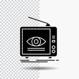 Reklama, transmisja, marketing, telewizja, tv glifu ikona na Przejrzystym tle Czarna ikona royalty ilustracja