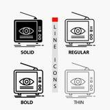Reklama, transmisja, marketing, telewizja, tv ikona w linii i glifie Cienkiej, Miarowej, Śmiałej, Projektuje r?wnie? zwr?ci? core ilustracji