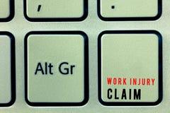 Reklamation för skada för arbete för ordhandstiltext Affärsidé för kompensation för medicinsk vårdersättninganställd arkivbilder