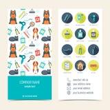 Reklamblad broschyr för älsklings- ansa älsklings- veterinär- för omsorg Uppsättning av befordrings- produkter Plan design vektor vektor illustrationer