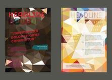 Reklamblad broschyrdesignmallar Geometriskt triangulärt abstrakt begrepp Royaltyfri Fotografi