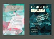 Reklamblad broschyrdesignmallar Geometriskt triangulärt abstrakt begrepp Royaltyfria Bilder
