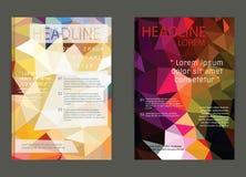 Reklamblad broschyrdesignmallar Geometriskt triangulärt abstrakt begrepp Fotografering för Bildbyråer