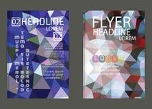 Reklamblad broschyrdesignmallar Geometriskt triangulärt abstrakt begrepp Arkivfoto