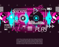 reklamblad för affisch för kassett för tappning för abstrakt begrepp för grungepartimusik vektor illustrationer