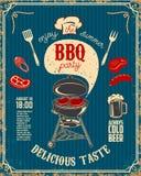 Reklamblad för BBQ-partitappning på grungebakgrund Galler med kök royaltyfri illustrationer