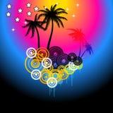 Reklamblad för disko för sommarmusikhändelse Stock Illustrationer
