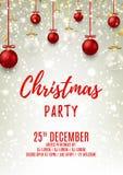 Reklamblad för julparti med glass och röda bollar Royaltyfria Foton