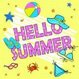 Reklamblad för parti för Hello sommarstrand, vektorillustration vid handen royaltyfri illustrationer