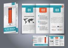 Reklamblad för veck för malldesign tre, broschyr Arkivfoto