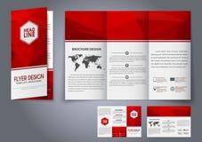 Reklamblad för veck för malldesign tre, broschyr Arkivbild