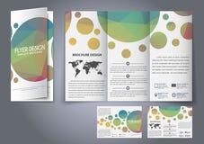 Reklamblad för veck för malldesign tre, broschyr Arkivbilder