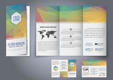 Reklamblad för veck för malldesign tre, broschyr Arkivfoton