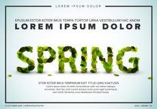 Reklamblad för vektorvårbokstäver som göras från nya gröna blad Arkivfoto
