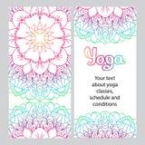 Reklamblad för yoga Kulör dekorativ Mandala vektor illustrationer