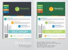 Reklamblad för affär i idérika två olika lappar för en färg i en idérik lutning färgar bakgrund Royaltyfri Fotografi