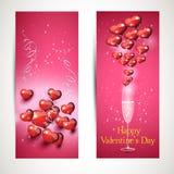 Reklamblad med exponeringsglas och en hjärta vektoruppsättning 3 Royaltyfri Foto
