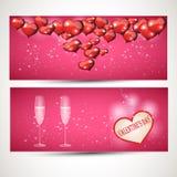 Reklamblad med exponeringsglas och en hjärta vektoruppsättning 3 Arkivfoto