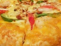 Reklamblad och affisch för begrepp befordrings- för restauranger eller pizzerias, mall med läcker smakpeperonipizza arkivfoto