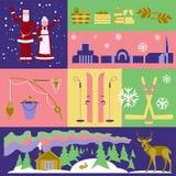Reklamblad undersöker världen scandinavia royaltyfri illustrationer