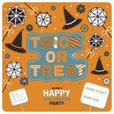 Reklambladdesign för det lyckliga halloween partiet Royaltyfri Foto