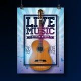 Reklambladdesign för levande musik med den akustiska gitarren på grungebakgrund också vektor för coreldrawillustration vektor illustrationer