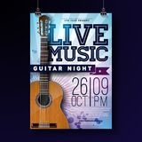 Reklambladdesign för levande musik med den akustiska gitarren på grungebakgrund Vektorillustrationmall för inbjudanaffisch vektor illustrationer