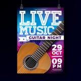 Reklambladdesign för levande musik med den akustiska gitarren på grungebakgrund Vektorillustrationmall för inbjudanaffisch royaltyfri illustrationer