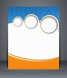 Reklambladdesign, mall eller en tidskrifträkning i blått- och apelsinfärger.