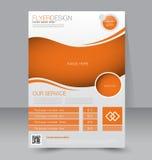 Reklambladmall Blå abstrakt orienteringsmall med fyrkanter Redigerbar affisch A4 Arkivbilder