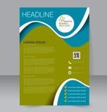 Reklambladmall Blå abstrakt orienteringsmall med fyrkanter Redigerbar affisch A4 stock illustrationer