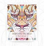 Reklambladmall med det mönstrade huvudet av det rytande lejonet royaltyfri illustrationer