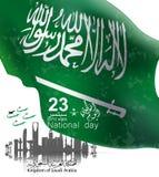 Reklambladmallrengöringsduk och broschyrillustration av Saudiarabien den nationella dagen 23 rd september stock illustrationer