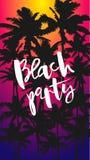 Reklambladstrandparti med svarta palmtr vektor illustrationer
