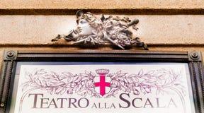 Reklamefläche des Scala-Theaters in Mailand stockfotografie